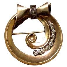 Sterling Gold Filled Rhinestone Bow Brooch