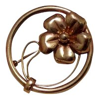 Gold Filled Floral Circle Brooch