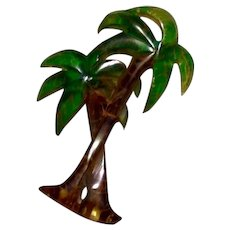 Brown & Green Lucite Palm Tree Brooch