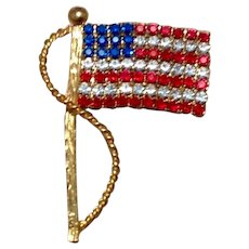 Red White & Blue American Flag Brooch