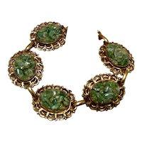 Gold Tone Jade Link Bracelet