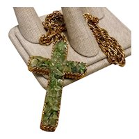 Gold Tone Jade Cross & Chain