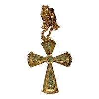 Gold Tone Jade Cross & Chain