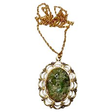 Gold Tone Jade Pendant Necklace