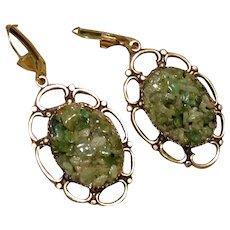 Gold Tone Jade Dangle Earrings