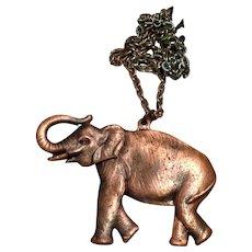 Copper Colored Elephant Pendant Necklace