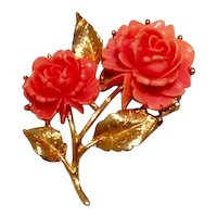 Faux Coral Floral Brooch