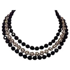 Jet Black Faceted Bead & Clear Crystal Rhinestone Bead Necklace