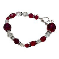 Sterling Red & Clear Faceted Bead Bracelet