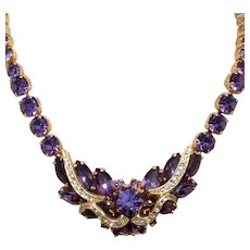 Purple & Clear Crystal Rhinestone Necklace
