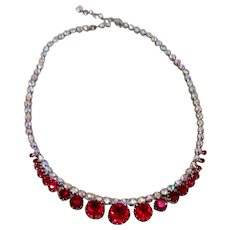 Red & Clear Spardling Rhinestone Necklace