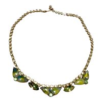 Green & Clear Sparkling Rhinestone Necklace