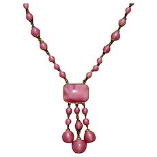 Art Deco Pink Satin Glass Necklace