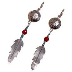 Native American Sterling Dangle Earrings