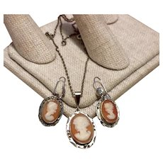 Sterling Marcasite Cameo Pendant Necklace & Earrings