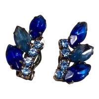 Two Tone Blue Rhinestone Clip EArrings