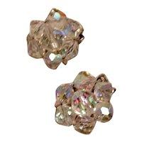 Clear Crystal Clip Earrings