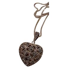 Marcasite Sterling Heart Pendant Necklace