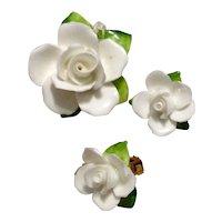 English Bone China Floral Brooch & Earrings