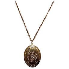 Gold Tone Costume Locket & Chain