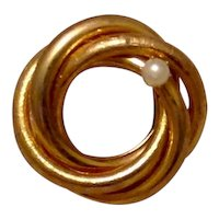 Gold Tone Faux Pearl Twisted Circle Brooch