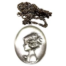 Pewter Gibson Girl Pendant Necklace