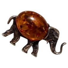 Sterling Amber Lucky Elephant Brooch