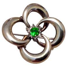 Symmetalic 14K & Sterling Emerald Green Paste Brooch