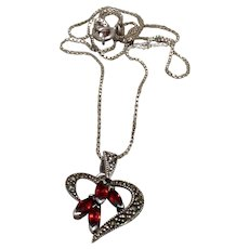Sterling Marcasite Garnet Pendant Necklace