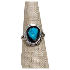 Sterling Handmade Navajo Turquoise Ring Size 7 3/4