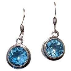 Sterling Blue Topaz Faceted Earrings Dangle