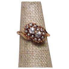 Toi Et Moi Mine Cut Diamond & Seed Pearl Ring 14K