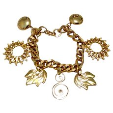 Gold Tone Sun Moon & Leaves Bracelet