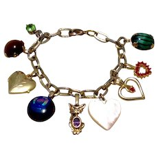 Gold Tone Bracelet Hearts Crystals MOP Diachroic Glass