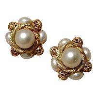 Gold Tone Coro Faux Pearl Earrings Clip