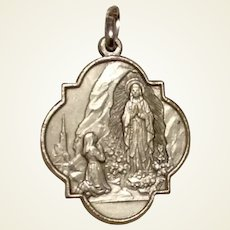Silver Tone Medal Our Lady Of Lourdes