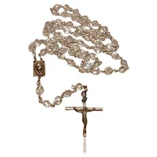 Silver Tone Clear Crystal Rosary