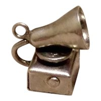 Sterling Mechanical 3D Phonograph Charm