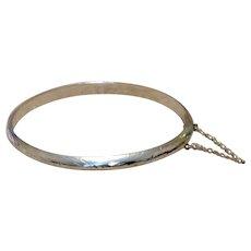 Sterling Etched Hinged Bangle Bracelet