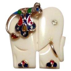 Faux Bone Enameled Elephant Pendant