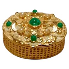 Faux Pearl & Jade Pill Box Gold Tone