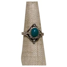 Mexican Sterling Jade Beaded Ring