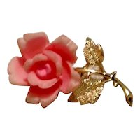 Faux Coral Rose Brooch