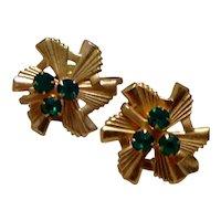 Gold Tone Green Rhinestone Earrings Screw Back