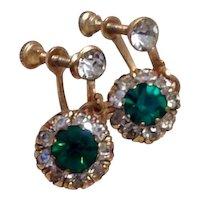 Gold Tone Green & Clear Rhinestone Earrings Dangle