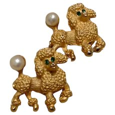 Gold Tone Faux Pearl Poodle Scatter Pins