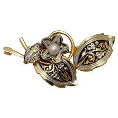 Gold Tone Damascene Floral Brooch