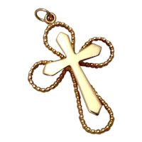 Gold Tone Metal Cross Pendant