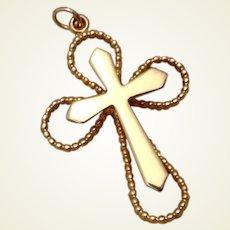 Gold Tone Metal Cross Pendant