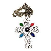 Avon Cross Pendant Necklace Silver Tone